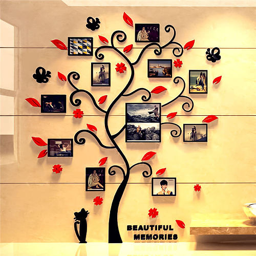 3D Family Tree Decal Sticker Acrylic Photo Album For Wall Sticker Tree Shape Decoration Stickers Home Decor Wall Poster Hanging