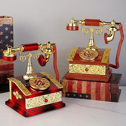 Retro Nostalgic Telephone Landline Music Box Music Box Creative Clothing Store Bar Cafe Decoration Birthday Gift Decor