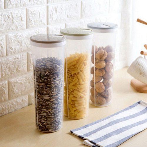 Food Storage Box Kitchen Organizer Plastic Transparent Container Set With Lid Kitchen Storage Bottle Jar Grain Spaghetti Box