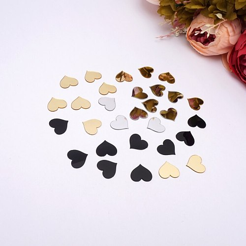 100 pieces 2cm(0.8 in) Small Heart Sticker Wedding Decor Acrylic Mirror Sticker Kid's Room DIY Accessory Party Guest Gifts