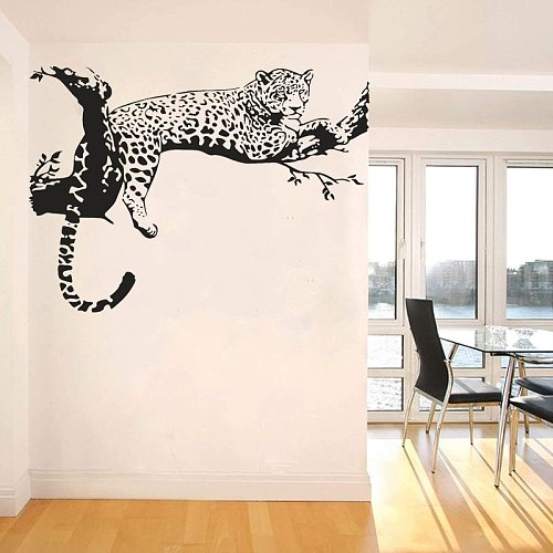 Cheetah Wall Sticker Jaguar Leopard Decal African Animal Creative Home Decor Panther Bedroom Living Room Decoration P475