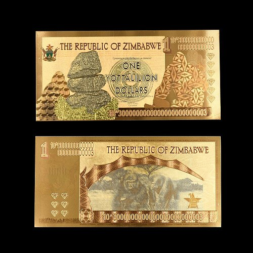 NEW Colorful Gold Foil Zimbabwe Dollars Fake Money Zimbabwe Paper Banknote Collections 10pcs/lot