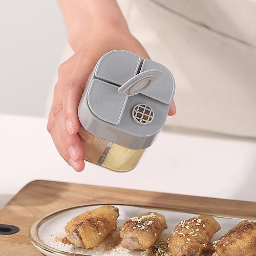 Spice Jar Seasoning Box Four In One Flip Kitchen Spice Storage Bottle Jars Transparent PP Salt Pepper Cumin Powder Box Tools