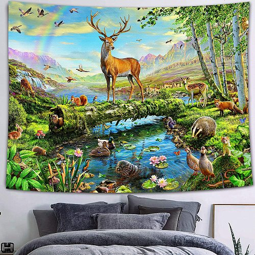 Simsant Wild Animal Tapestry Forest Tiger Deer Parrot Mountain Natural Landscape Wall Hanging Mexican Skull Tapestry for Dorm