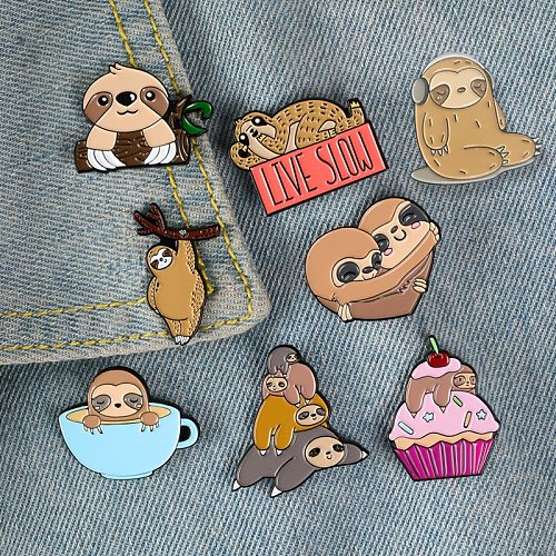 cartoon ice cream Coffeecup sloth metal brooch button pins denim jacket pin jewelry decoration badge for clothes lapel pins