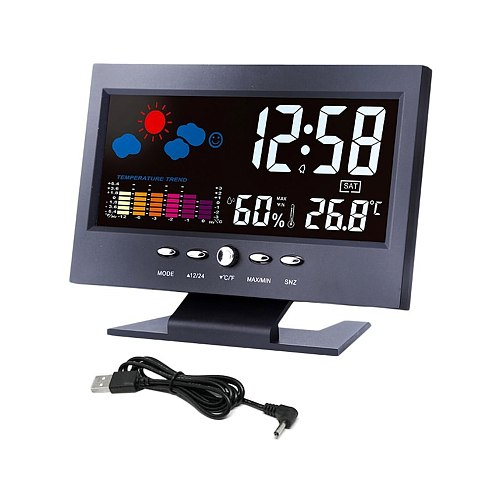 Digital Thermometer Hygrometer Weather Station Alarm Clock Temperature Gauge Colorful LCD Calendar Voice-activated