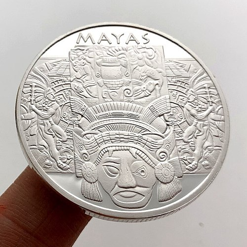 New Sliver Plated Maya Calendar Commemorative Coins Old Mexican Coins Collection Medals Mayan Civilization Sundial Culture Gifts
