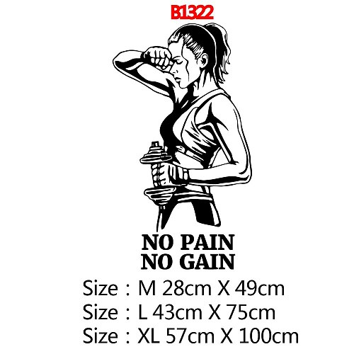 Hot no pain no gain Phrase Gym Vinyl Wallpaper Sticker For Gym Decoration Wall Decal Sport Wall stickers decoração ginásio