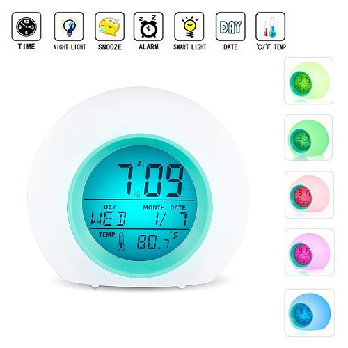 7 Colors Alarm Clock For Kids LED Clock Light Digital Clock Thermometer Changing Light Night Glowing Table Desktop
