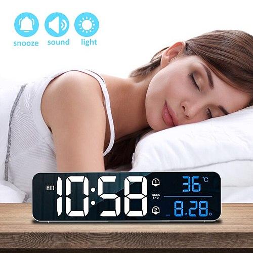 Creative Music LED Digital Alarm Clock Date Display Snooze Wake-up Light USB Mirror LED Clock Home Decoration Clock