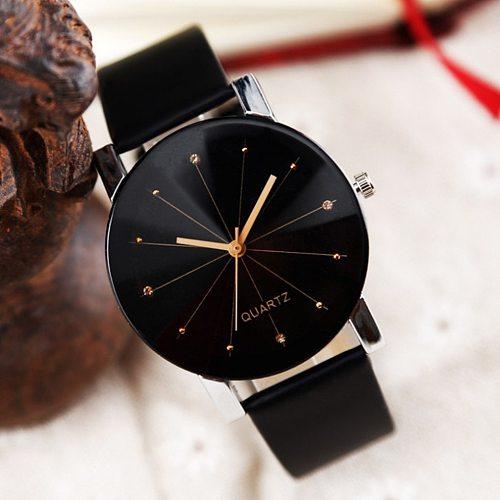 Top Style Fashion Women's Luxury Leather Band Analog Quartz Wristwatch Ladies Watch Women Wristwatch Reloj Mujer Black Clock