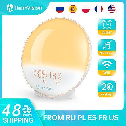HeimVision AH80SQ Alarm Clock Wake Up Light Smart Digital Snooze Nature Night Lamp Sunrise Colorful Light Nature Sounds FM Radio