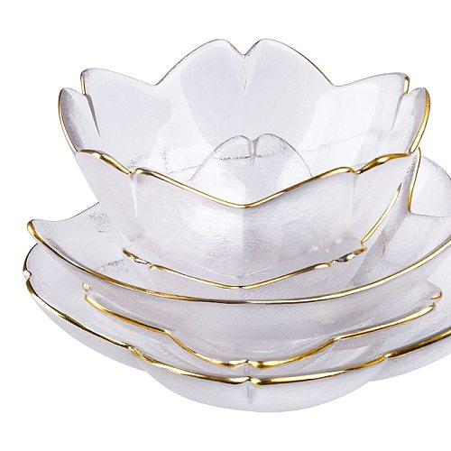 Japanese Style Cherry Blossom Dish Handmade Transparent Elegant Glass Snack Dip Bowl Matte Phnom Penh Dish Household Tableware