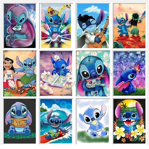 Disney Stitch 5D Diamond Painting Cross Stitch Kit Square/Round Diamond Embroidery Cross Stitch Cartoon Animal Mosaic Picture
