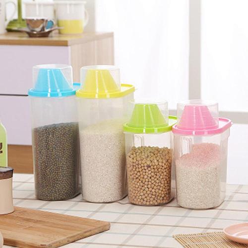 1.9L-2.5L Pp Food Storage Box Plastic Clear Container Set With Pour Lids Kitchen Storage Bottles Jars Dried Grains Tank Dropship