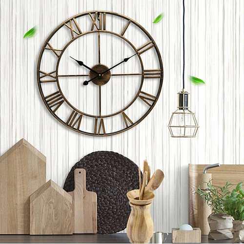 Newest 40cm 3D Wall Clock Vintage Home Decor Livingroom Roman Round Shape Wall Decorative Home Decoration Accessories Clock