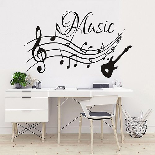 High Quality Musical Notes Music Guitar Vinyl Wall Stickers Living Room Decals Nursery Home Decor Removable Wallpaper Art Murals
