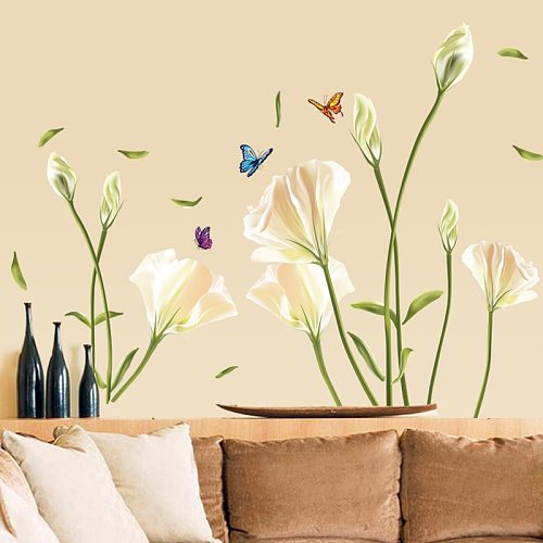 Creative Elegant Lily Flowers Wall Stickers Home Decor Living Room Decoration Removable PVC Vinyl Wall Art Mural Decals