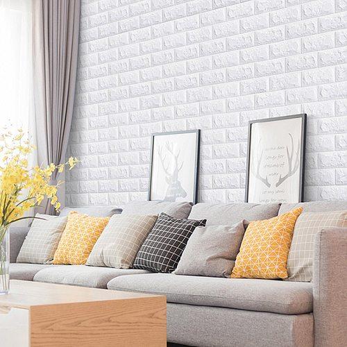 5/10PCS Self-adhesive DIY Brick Foam Panels 3D Wall Stickers Embossed Stone Wallpaper Home Decor Living Room Kitchen Decoration