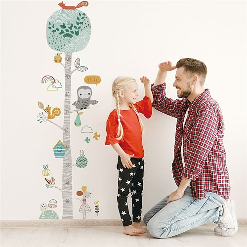Kid Height Ruler Wallpaper Cartoon Animal Tree Height Measure Wall Stickers For Kids Room Decor Growth Chart Nursery Decoration