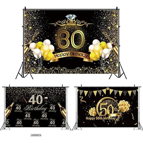 Happy Birthday Background Cloth Decor 30th 40th 50th Adult Birthday Party Decoration Custom Text 30 40 50 Years Anniversary