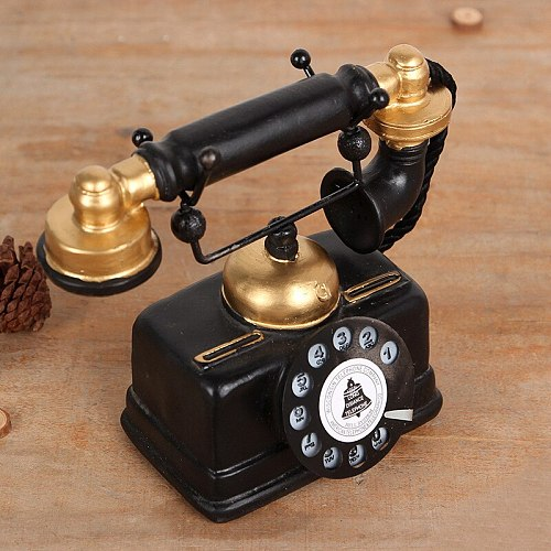 Vintage telephone resin model home decoration accessories phone ornaments creative gift shop bar decor craft figurines TTBD21