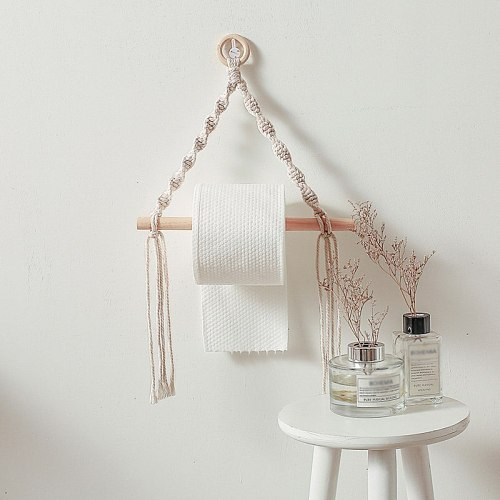 European Macrame Toilet Paper Holder Tapestry Wooden Wall Hanging Storage Shelf Home Decor Bathroom Toilet Paper Dispenser #