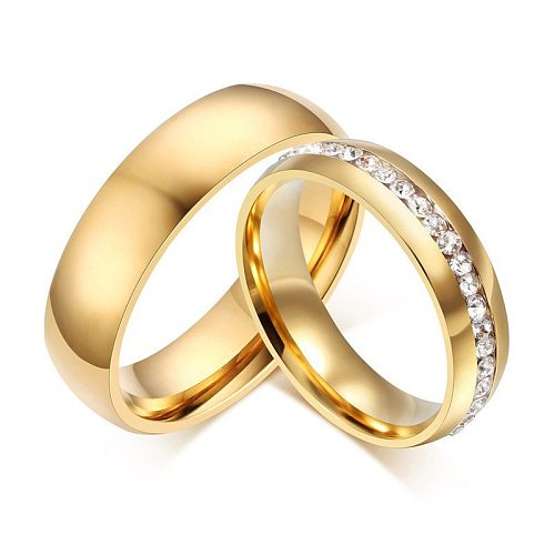 LETAPI 2020 New Fashion Gold color Stainless Steel Wedding Bands Shiny Crystal Ring for Female Male Jewelry 6mm Engagement Ring