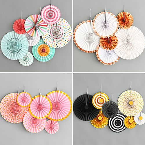 DIY Tissue Paper Fans Party Decorations Christmas Hanging Paper Crafts Baby Shower Decorations Birthday Wedding Decor Supplies