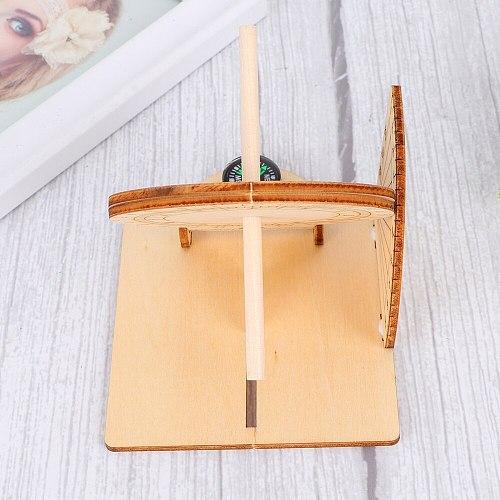 1pc Equatorial Sundial Clock Wooden Scientific Model DIY Teaching Aid Educational Toys for Kids