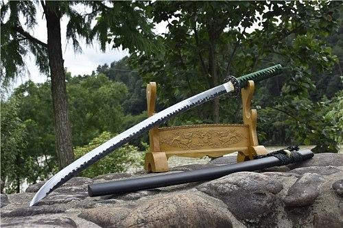 HandMade Japanese Samurai Sword Katana Super Sharp T1095 High Manganese Steel Blade Wood Sheath Full Tang