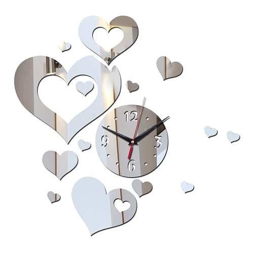 Wall Clocks Acrylic Modern Style Hearts Living Room Decoration DIY Single Face Needle Quartz Watches Still Life Stickers