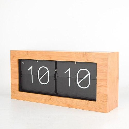 Bamboo Wood Flip Clock Automatic Creative Table Desk Clock Living Room Retro Table Watch Clocks Office Horloge Home Decor Gift