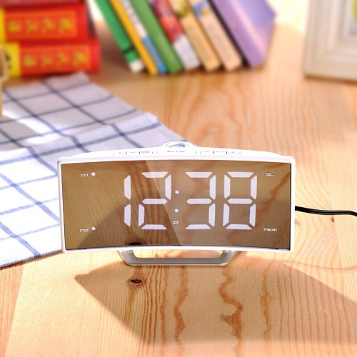 Projection LED Digital Alarm Clock Radio Table Electronic Mirror Watch Desk Nixie Projection Alarm Clock With Time Black white