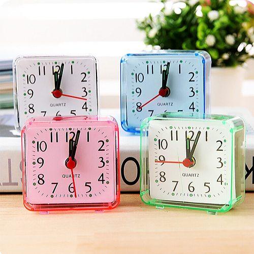 Alarm Clock Square Small Bed Compact Travel Quartz Beep Alarm Clock Cute Portable Cute Creative Fashion Student Small Clock#55