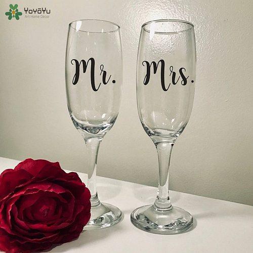 12pcs/set Mr and Mrs Wine Glasses Sticker Newlyweds Engagement Wedding Gift Champagne Glass Decal Wedding Decoration QQ516