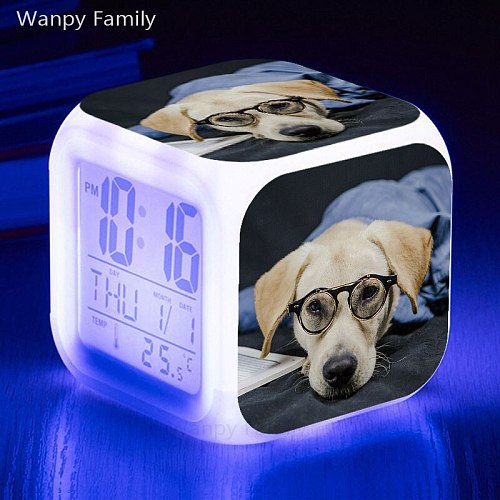 2021 New pet dog alarm clock 7 color luminous LED digital clock with thermometer date luminous electronic watch gift for kids