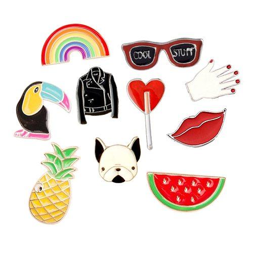 Creative Cartoon Glasses Rainbow Pineapple Watermelon Dog Brooch Women Cute Coat Lapel Badge Broochs Men's Metal Pin Button Gift