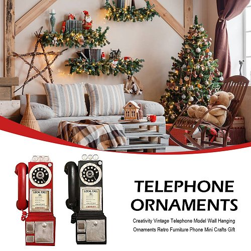 Creativity Vintage Telephone Model Wall Hanging Ornaments Retro Furniture Phone Mini Crafts Gift For Bar Home Decoration