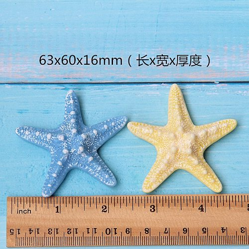 5pcs DIY Resin Adorable Glitter Colorful Starfish Shell For Home Wedding DIY Embellishments For Scrapbooking Accessorie