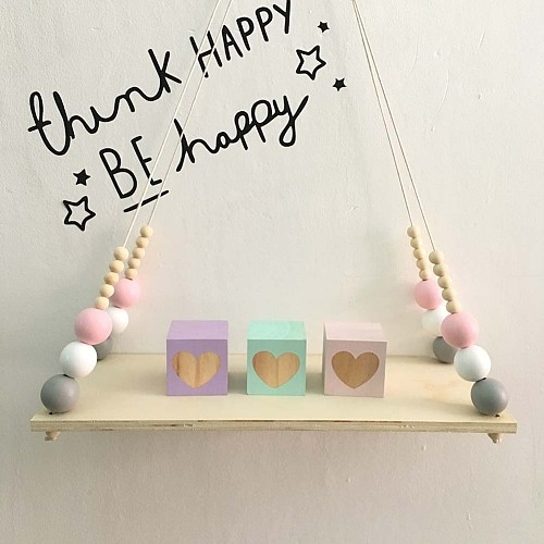 Home Wall Hanging Wooden Ornaments Nordic Beads Board Hanging Storage Shelf Kids Room Nursery Home Wall Decor