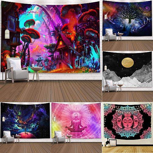 2020 Multicolour Mandala Wall Hanging Tapestry Poster Boho Meditation Yoga Mat Home Decoration 95x73 cm