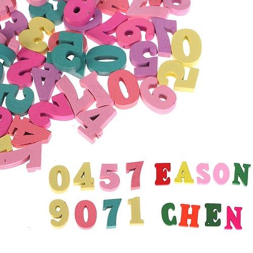 Wooden Letters Colorful Numbers Alphabet DIY Embellishments Scrabble Scrapbooking Craft Cardmaking Supplies Home Decor 100Pcs