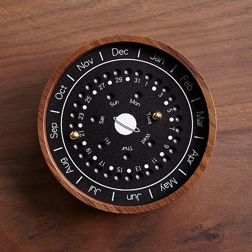 Sundial Wooden Home Decorations Life Partners Gifts Desktop Calendar Collectible Figurines Business Office Birthday Present