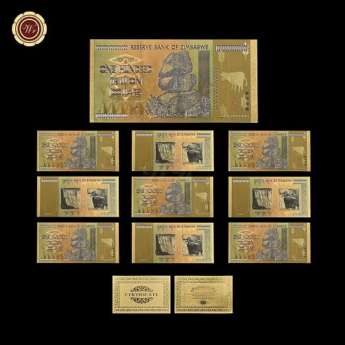 10 pcs WR Gold Banknote Colorful Zimbabwe 100 Trillion Dollar Copy Money with Cerfiticate Card for Gifts