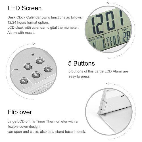 Alarm Clock Display date time temperature Folding mini Desk Thermometer cover Digital  LCD Timer countdown time