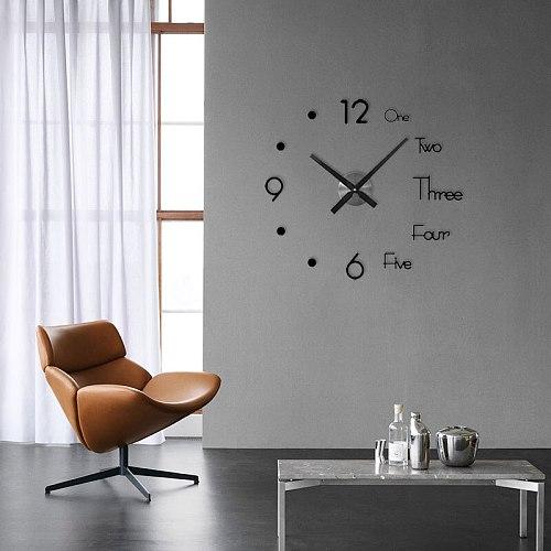 New Function Large Wall Clock Modern Design 3D Wall Sticker Clock Silent Home Decor Quartz Sticker Home Office Decor Wall Clock
