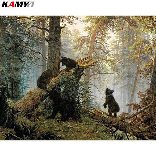 Full Square Round 5d diy Diamond embroidery bears in a pine forest diamond painting Cross Stitch Rhinestone mosaic decoration