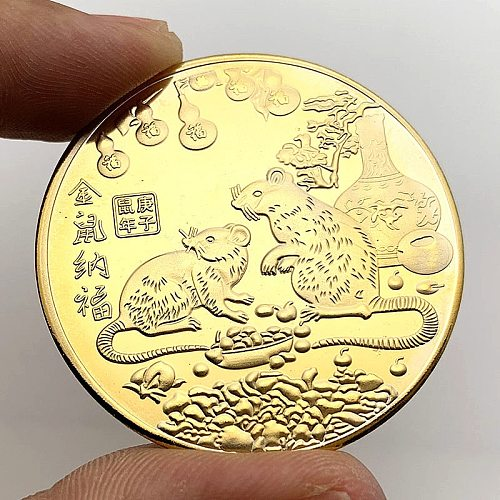 2020 Year of the Rat Commemorative Coin Chinese Zodiac Souvenir Non-currency Coins Lunar Calendar Collection Art Craft Gift