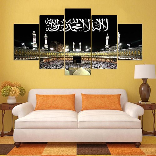 HD Canvas Art Print Painting For Living Room Wall Decor 5 Pieces Islamic Calligraphy Arabic Muslim City Night Decoration Picture